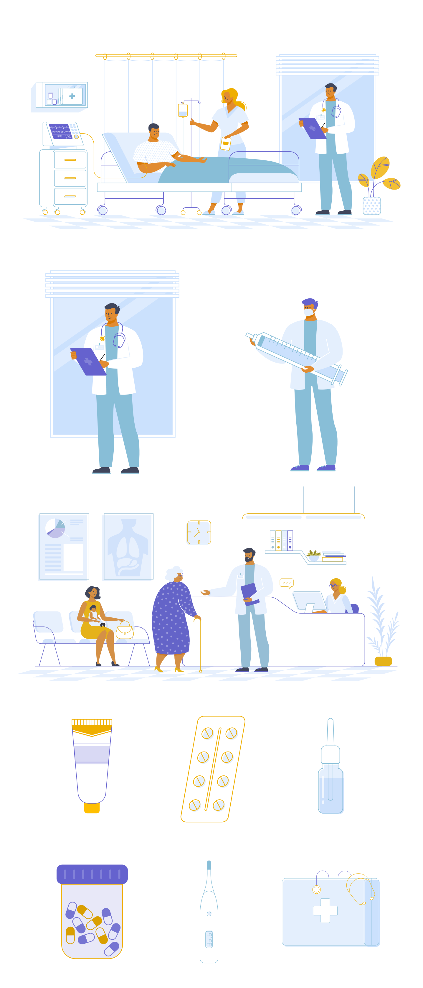Free vector illustration of health workers, doctors, nurses, hospital, medicine, patient, hospital ward, syringe, tablets, medical, nurses, female doctor, mask, covid, vaccine, health, serum, thermometer, baby, mother
