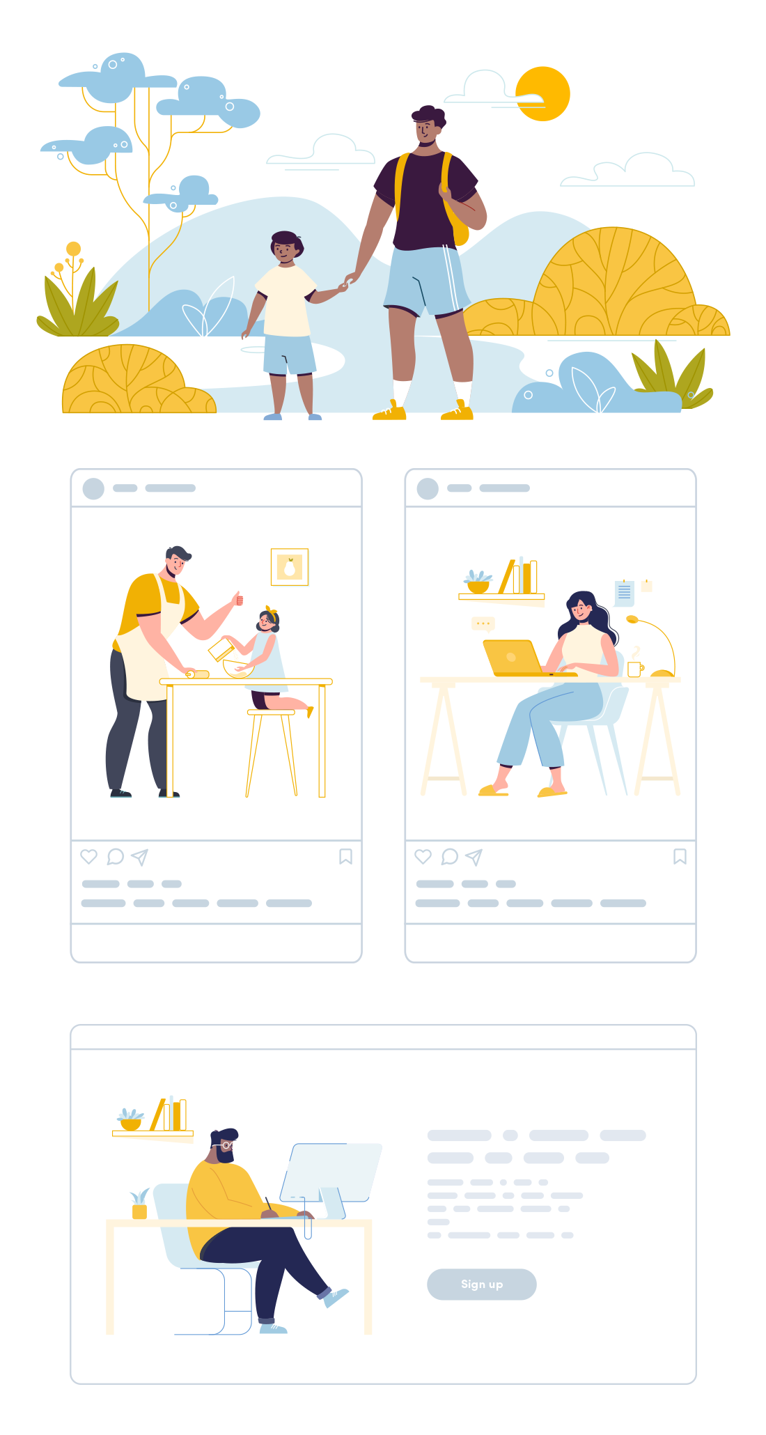 Free vector illustrations of brothers, family, young family, cooking, kitchen, home life, working from home, remote working, designer, home office, walk in a park, hiking, trekking, family activity