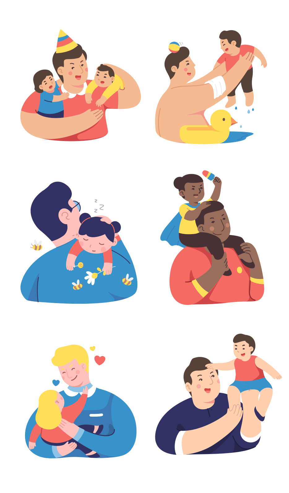 Fathers, diversity, culture, love, children, kids, family, dads, illustrations, daughters, sons, twins, baby, toddlers, child, bath time, swimming, hug, embrace, sleep, lifting up, birthday, party, fun, happy, love, summer