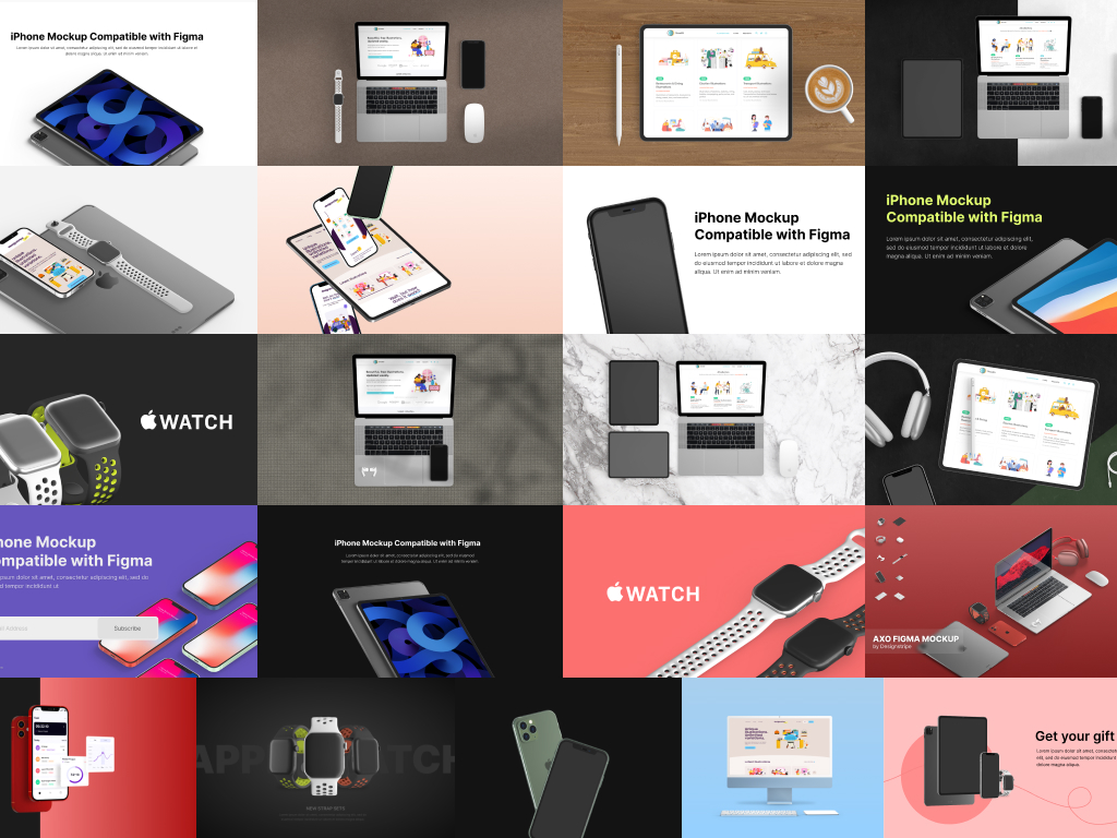 A collection of device mockups showcasing pre-made scenes