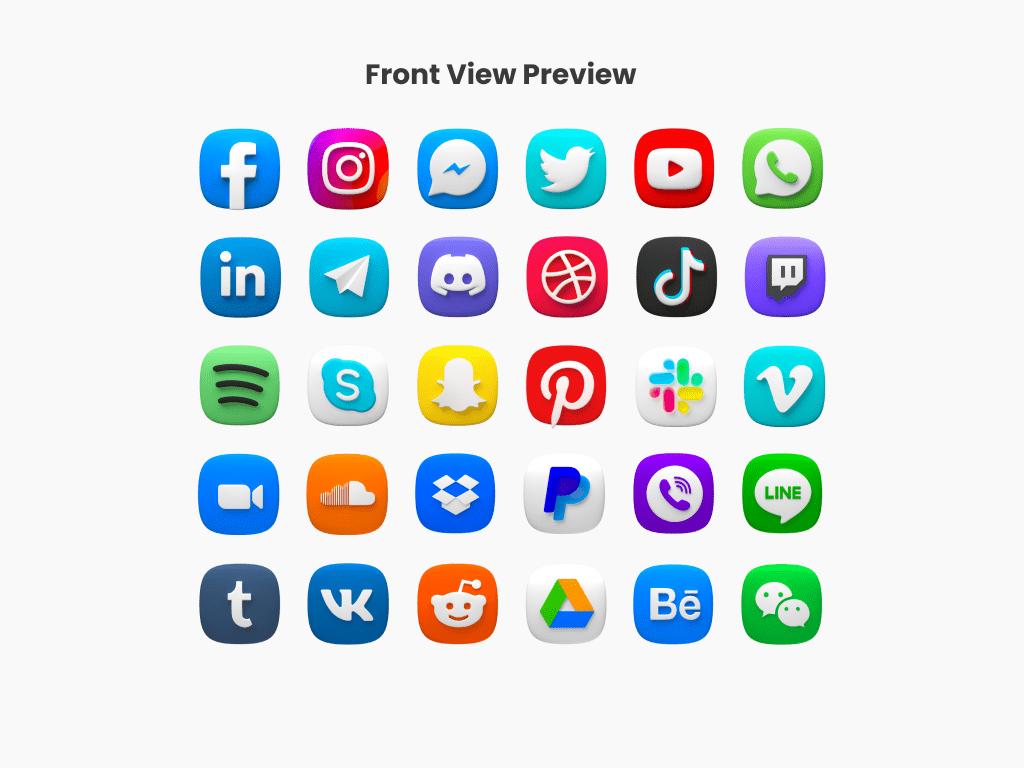 social media icons, 3d icons, free, facebook, instagram, behance, Microsoft, snapchat, messenger, tiktok, whatsapp, telegram, slack, youtube, twitter, dribbble, skype, vimeo, reddit, discord, wechat, wattpad, tumblr, paypal, zoom, dropbox, spotify, twitch, linkedin, connection, vibe, soundcloud