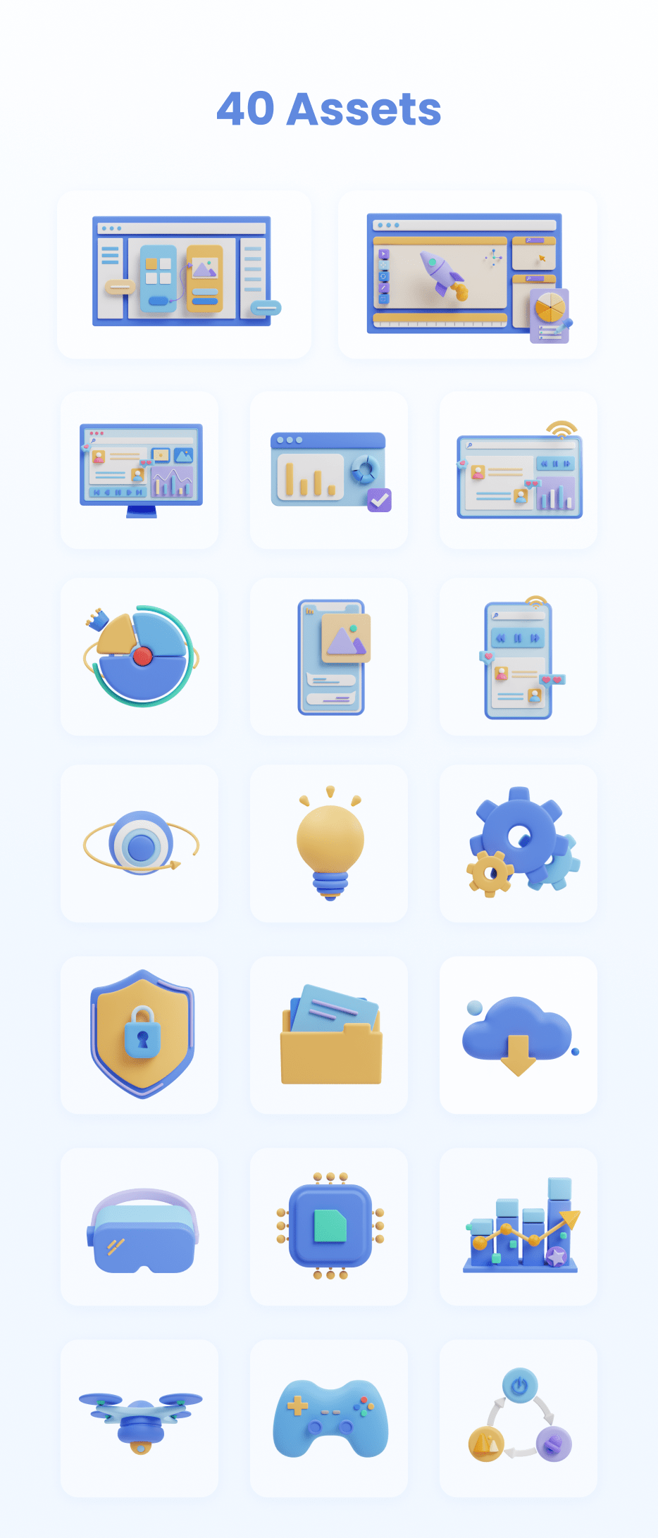 3D icons, illustrations, motion, clay, devices, technology, VR, xbox, consoles, drones, UI, interface, design, blender, investment, diagram, chart, ideas, 360 camera, cloud, document, files, cyber, security, prototyping, prototypes, ideation, firewall, folder