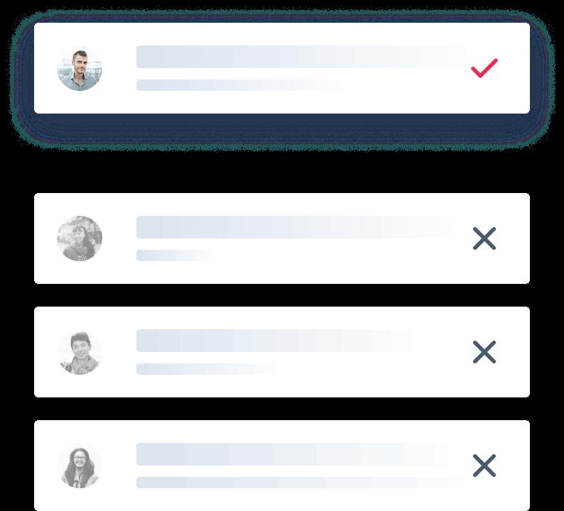 Ilustração de cards de recomendação de candidatos