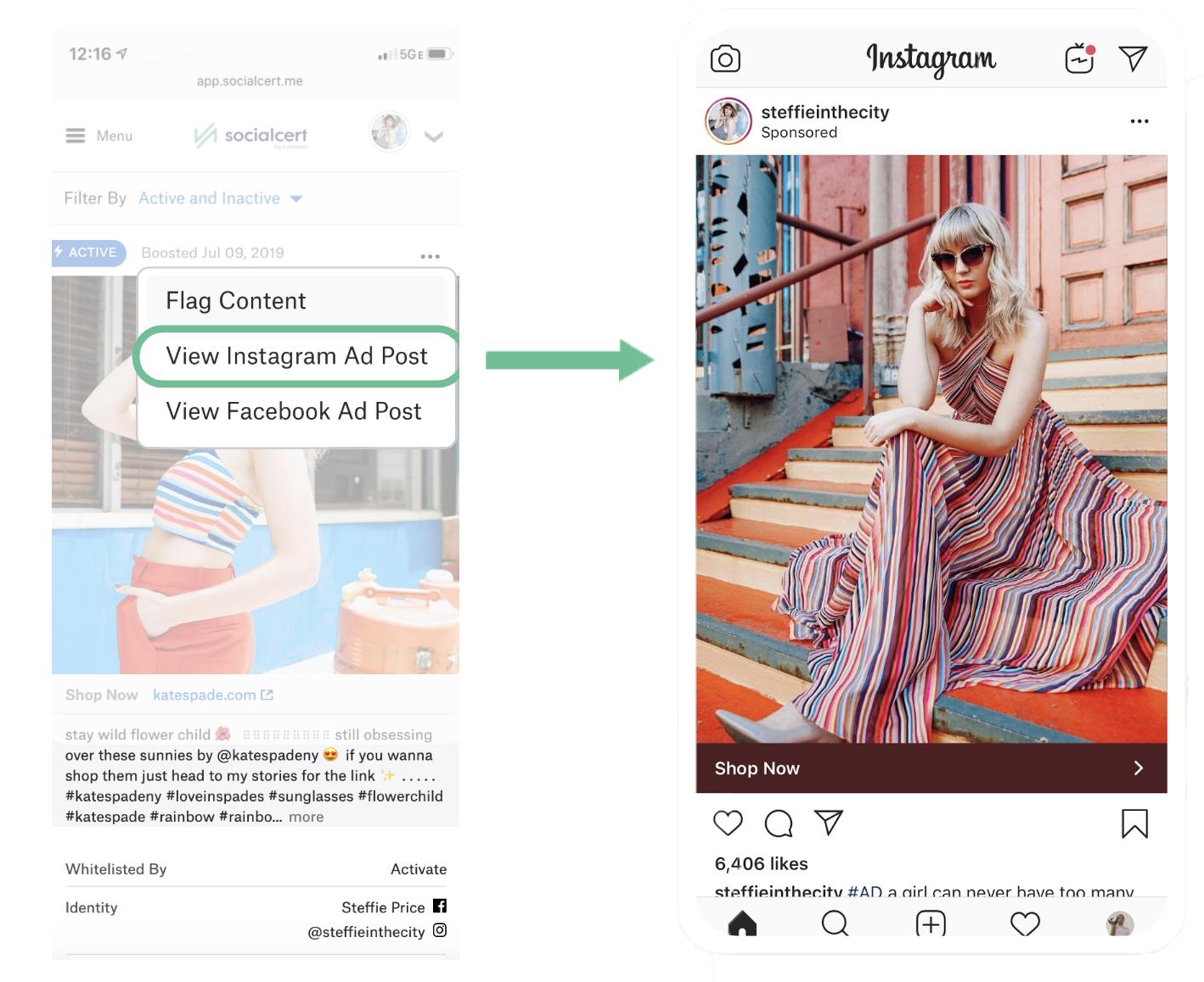 Instagram dark post ad example