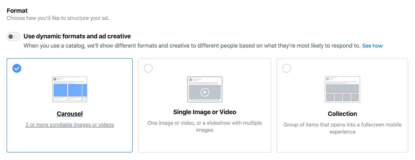 Setting ad format in Facebook Ads Manager