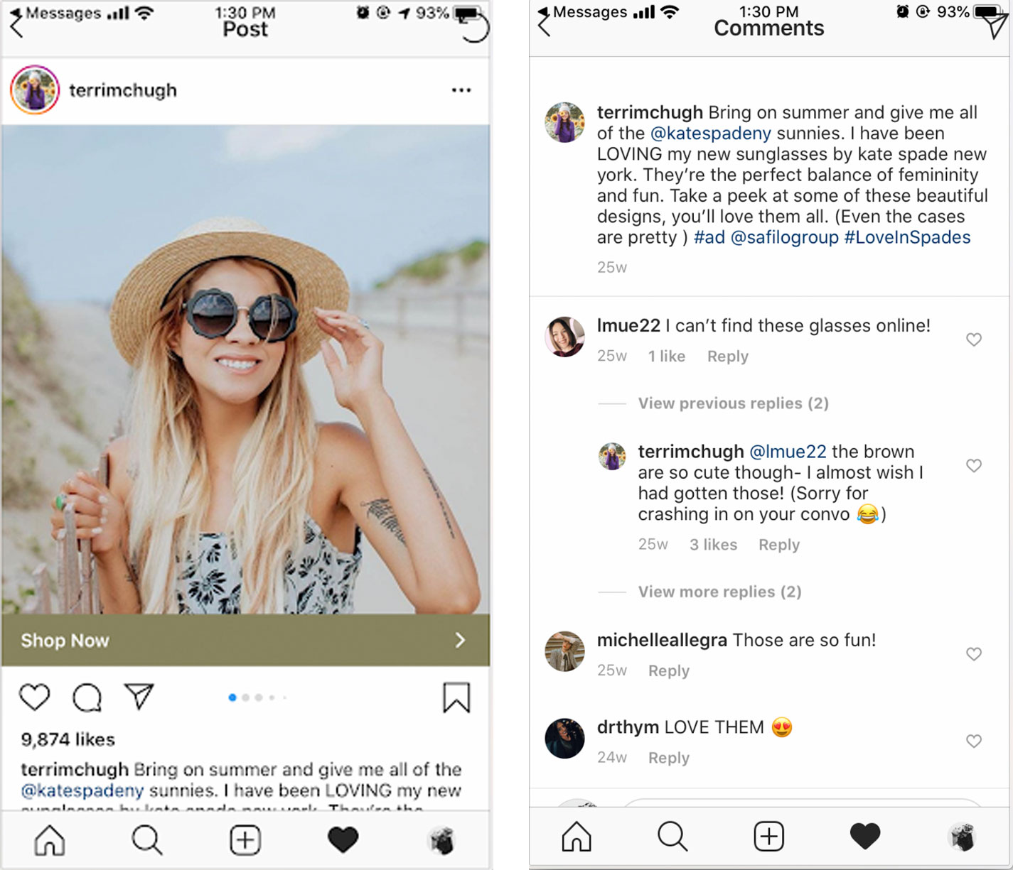 Example of influencer with high quality engagement