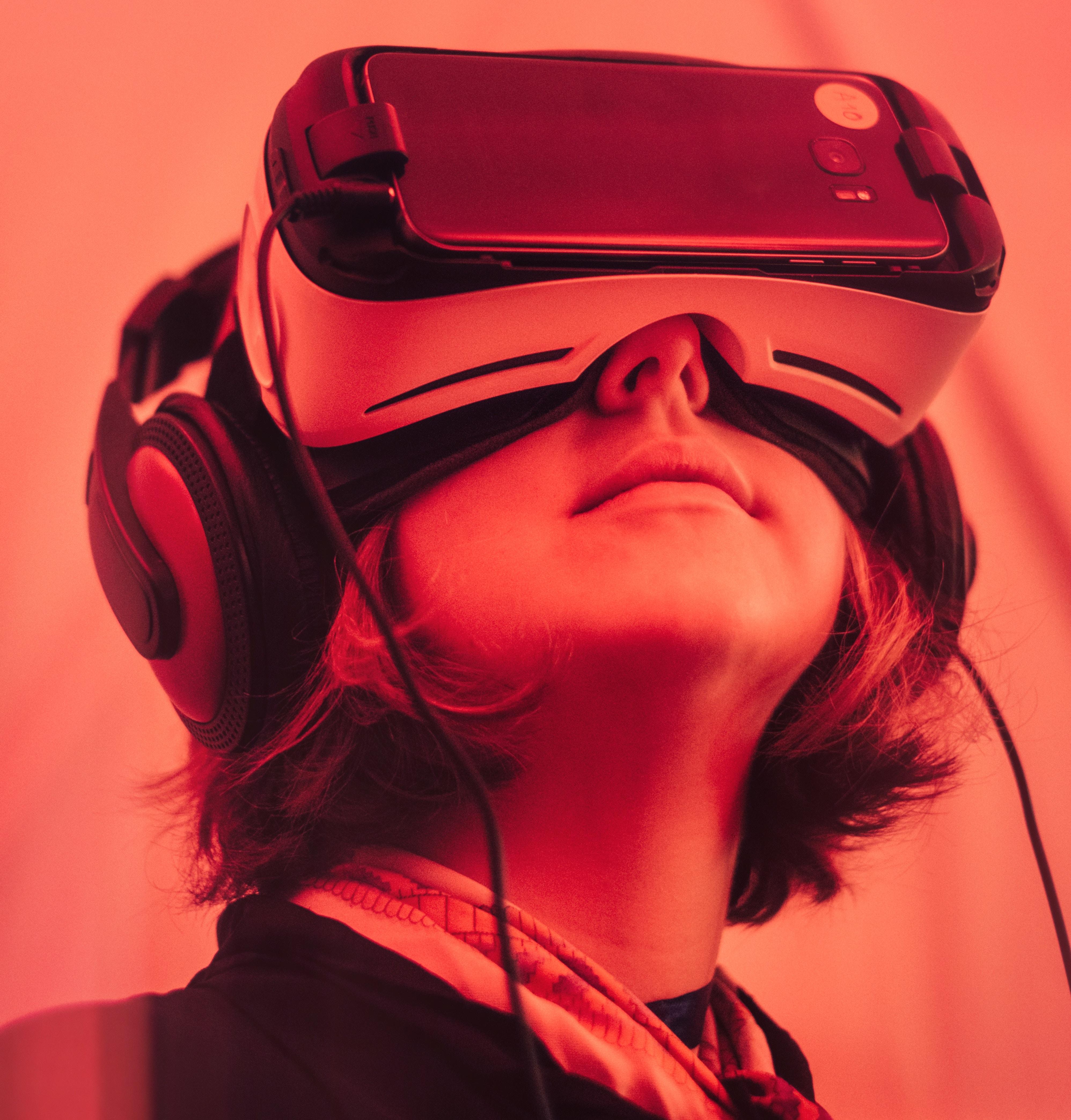 Girl testing Virtual Reality software
