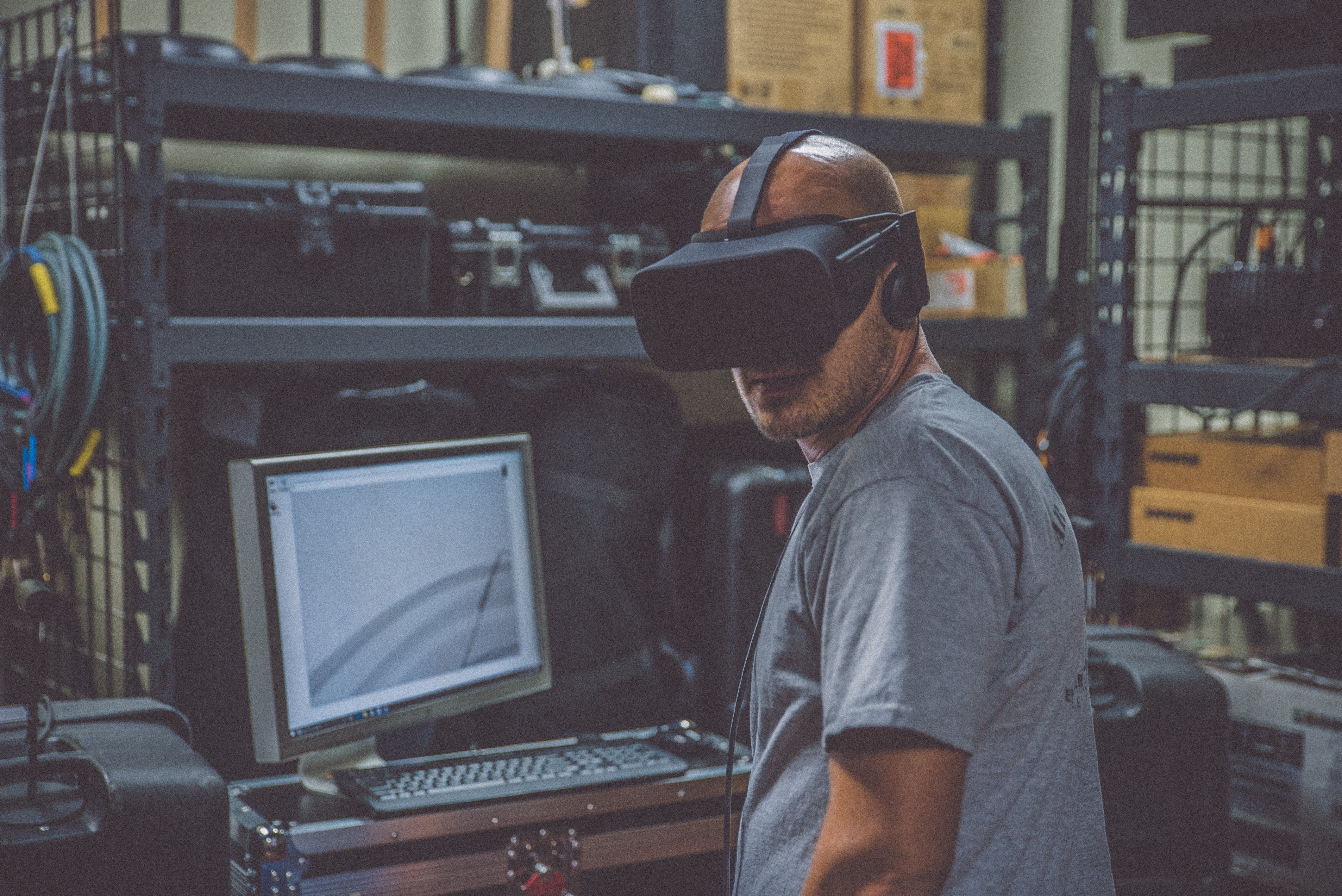 Person testing web application in virtual reality