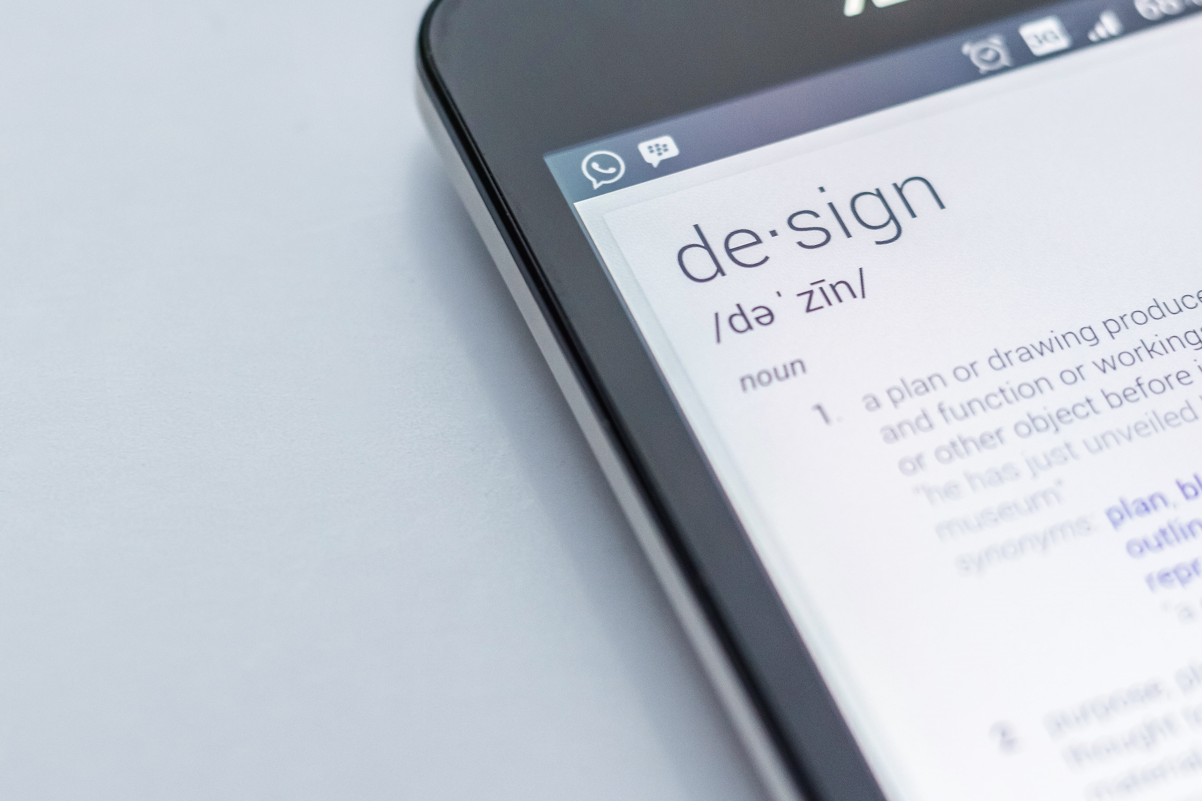 mobile phone with definition of design on screen