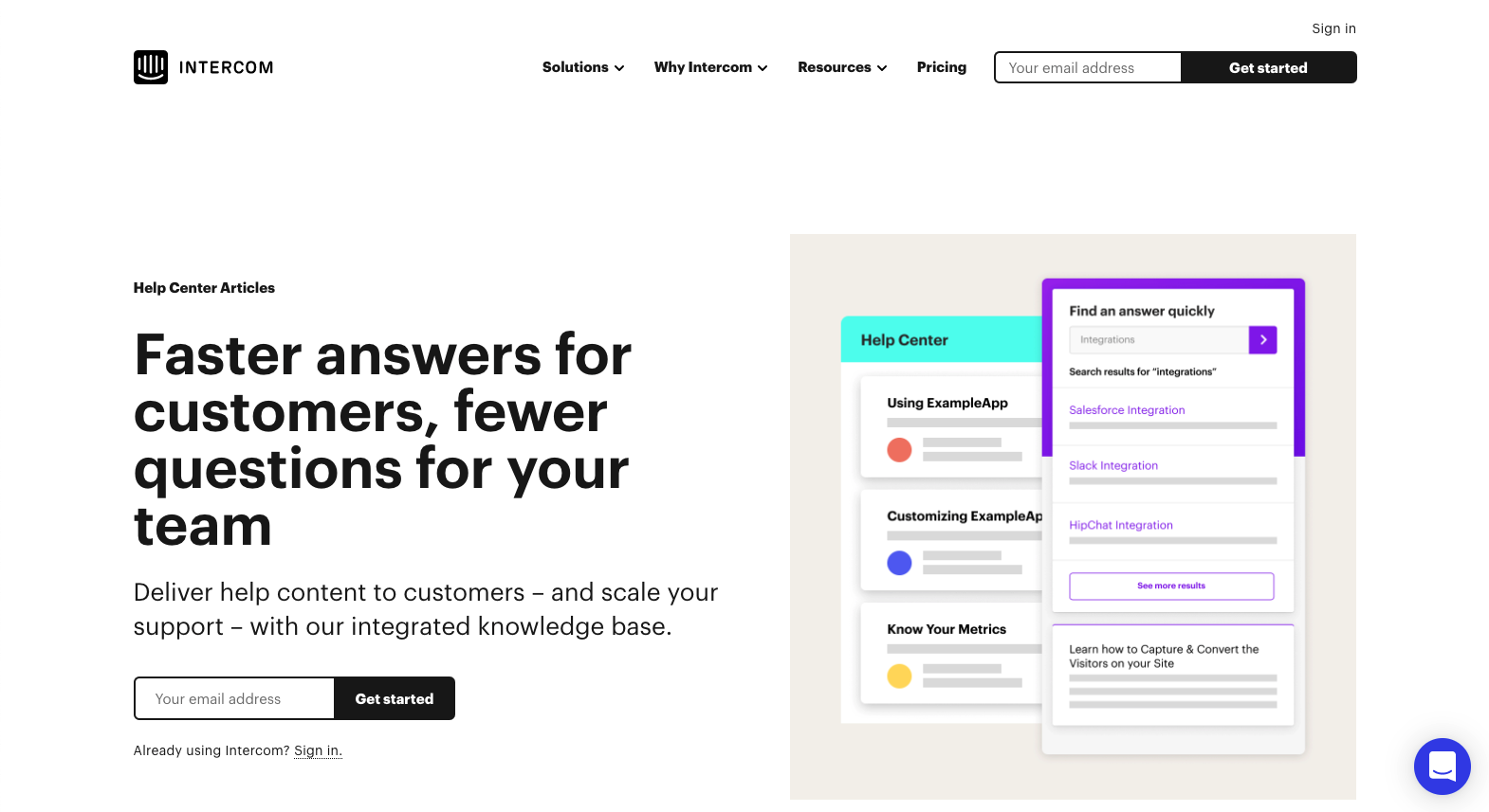 a screenshot of intercom website