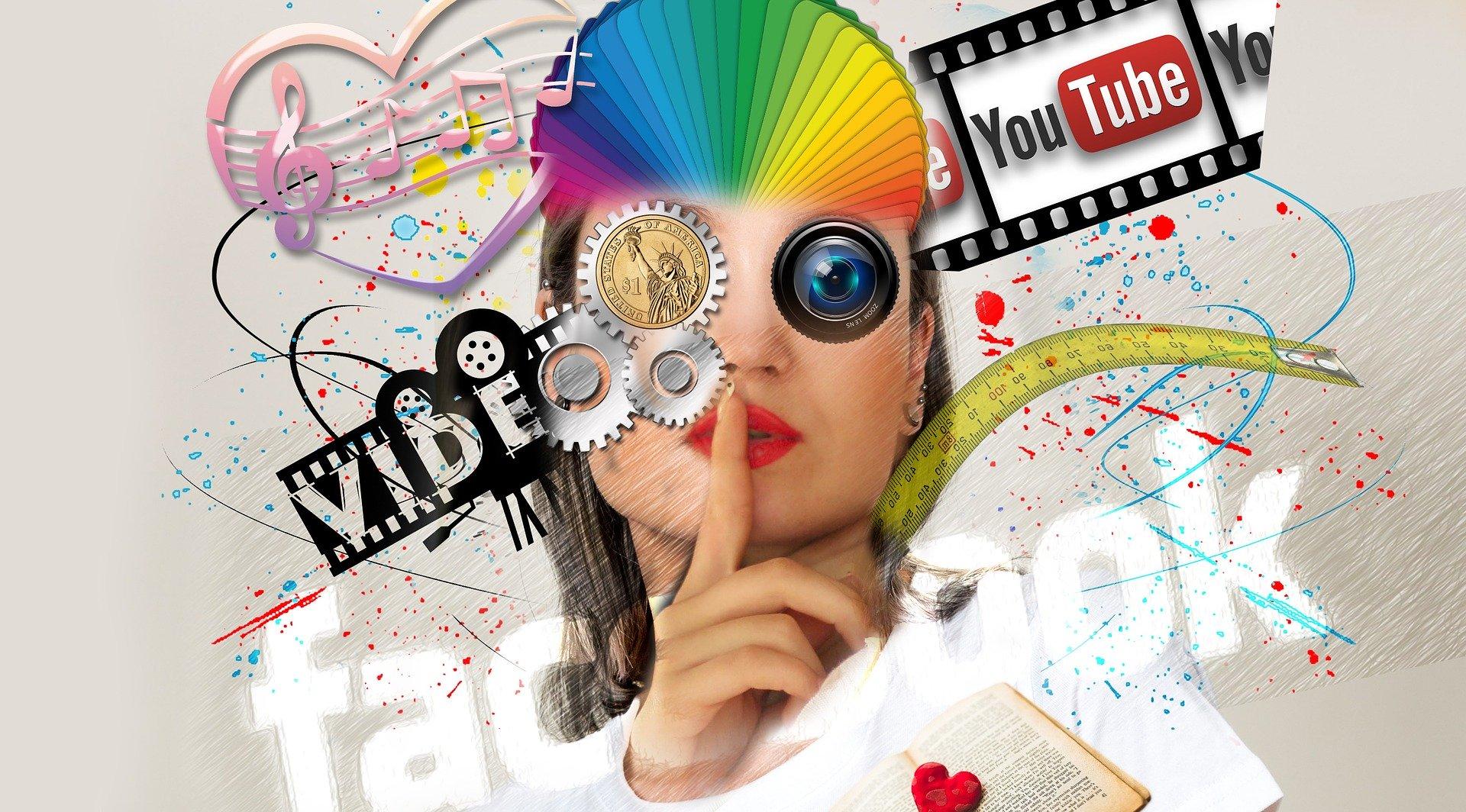 woman with social media logos