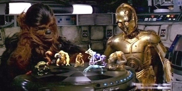 Chewbacca and C-3P0 playing Holochess