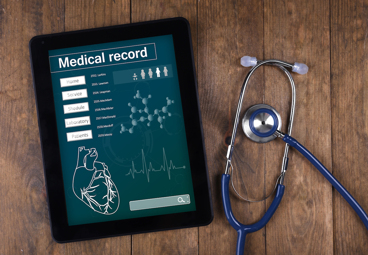 Tablet with stethoscope