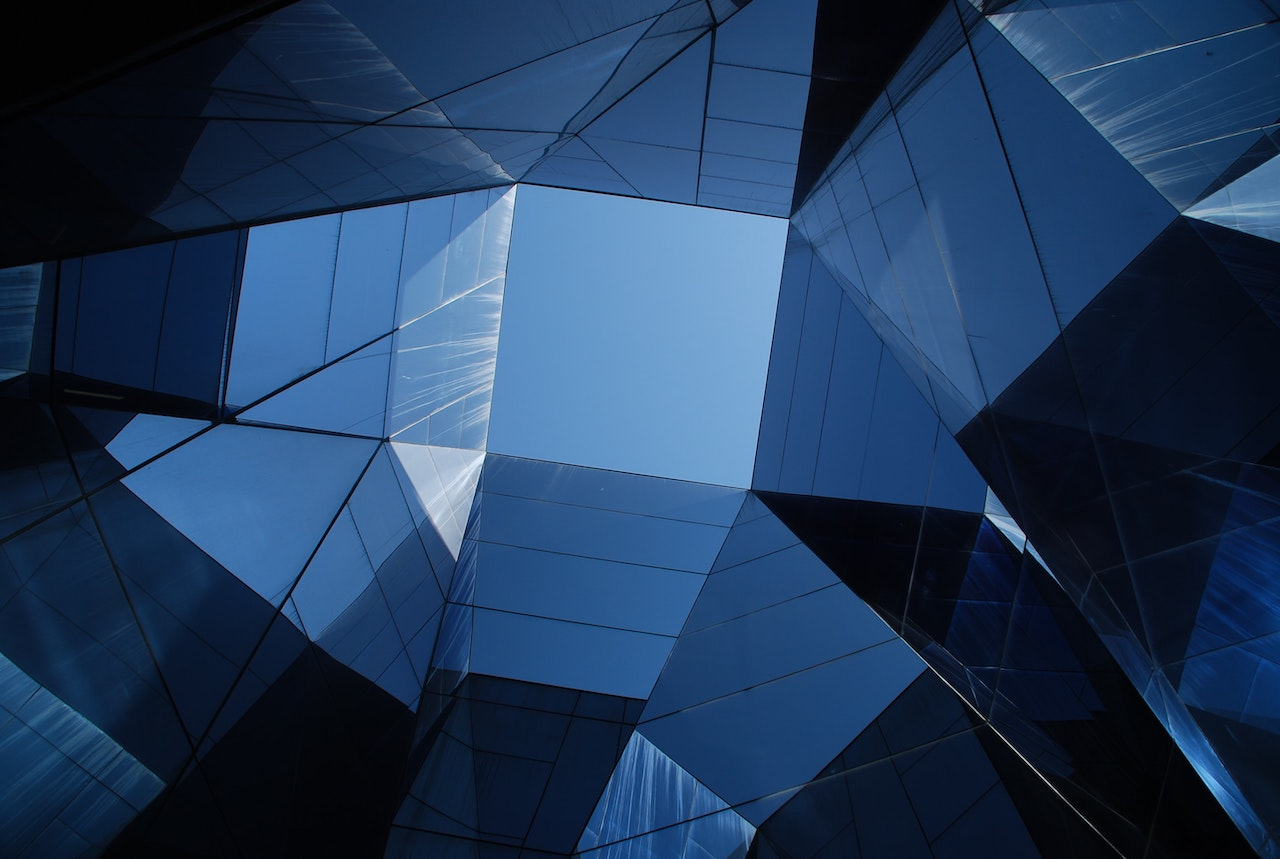 Geometric glass office building