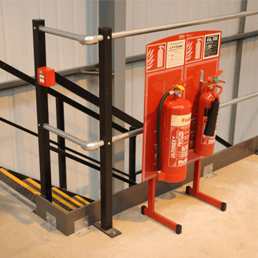 Photo of extinguisher stands on an IdentiStand
