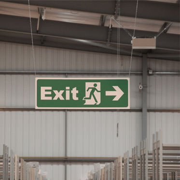 Photo of a TuffSign in large storage area