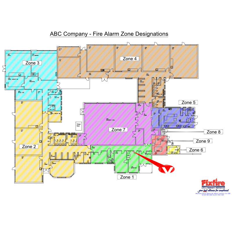 Photo of fire alarm zone designations