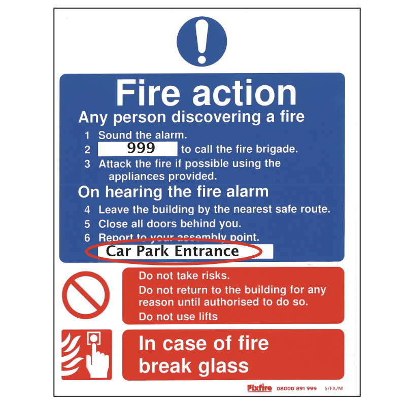 Photo of a Fire Action Sign