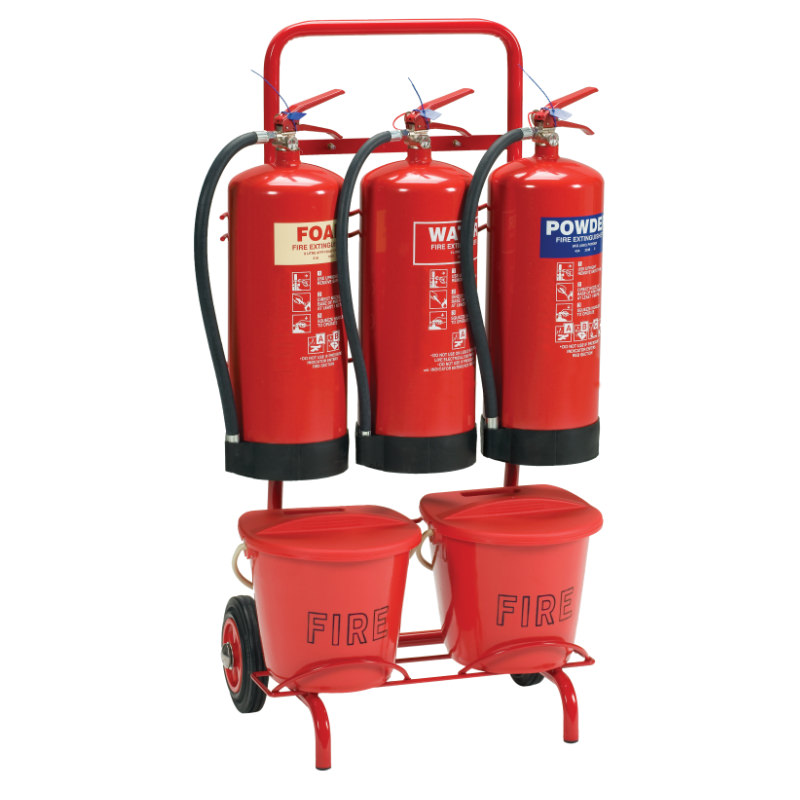 Triple Extinguisher Trolley With Bucket Bracket