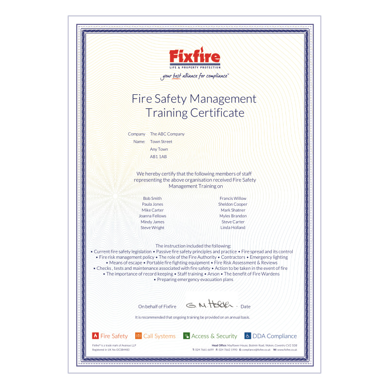 Fire Safety Mnagment Training Course Certificate