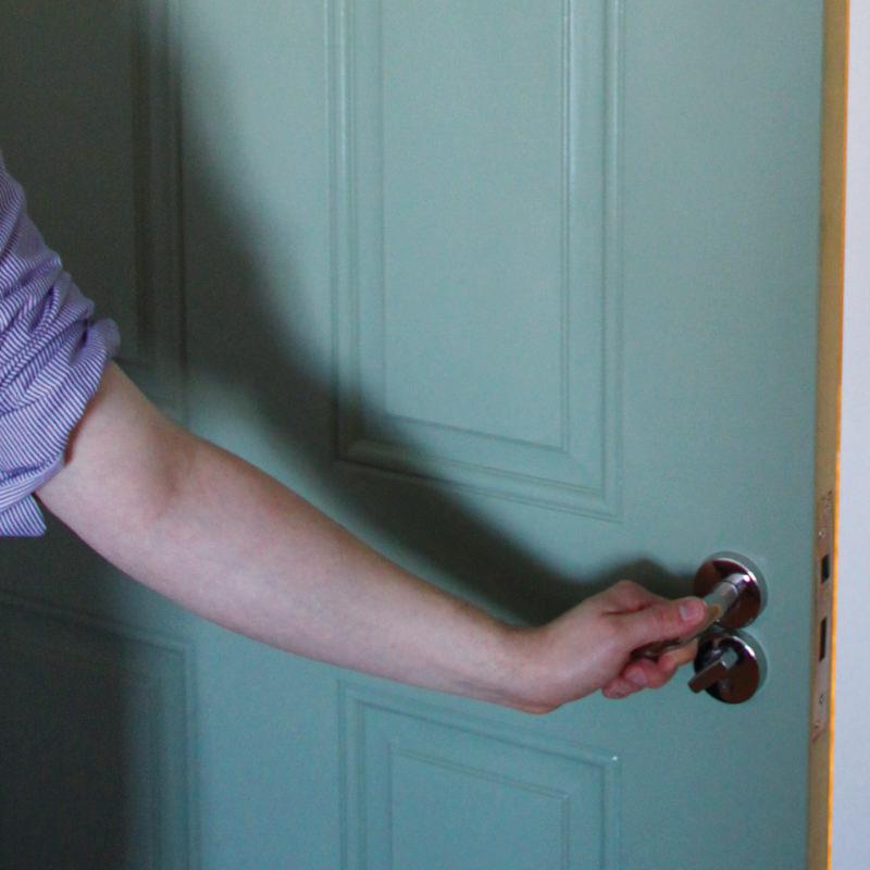 Resident opens door