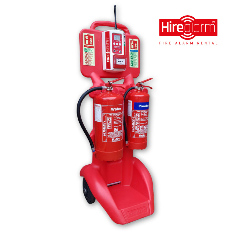 FireKart double extinguisher trolley complete with Fire Sentry Wireless Monitor & Call Point
