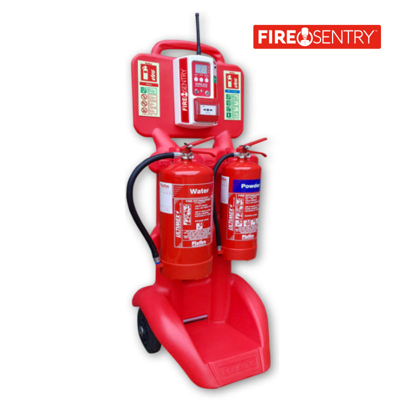 Fire Sentry Wireless Call Point mounted on FireKart Trolley