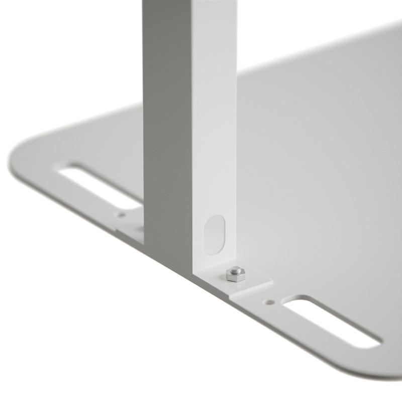 Solid weighted base plate provides freestanding stability. Integral handles for carrying. Predrilled holes allow unit to be bolted to floor if desired.