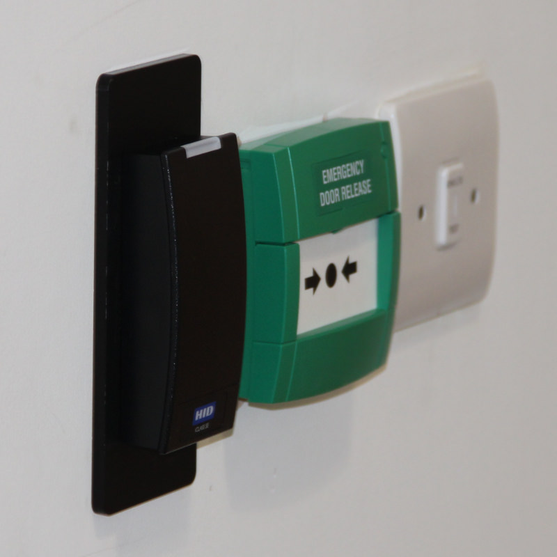 Proximity Reader with adjacent Emergency Door Release Call Point