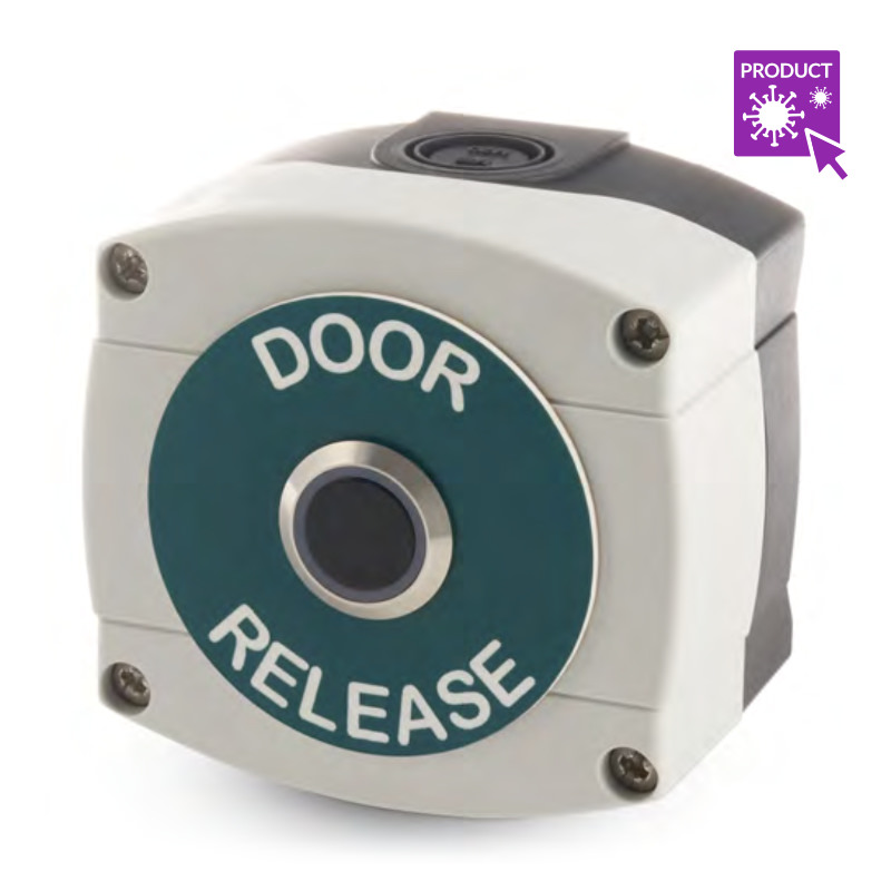 Weatherproof infra-red no touch exit button