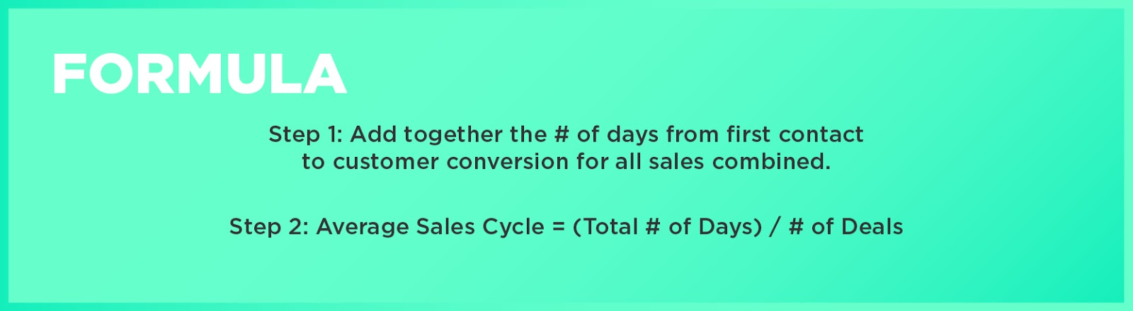 Formula: Step 1: Add together the # of days from first contact to customer conversion for all sales combined. Step 2: Average Sales Cycle = (Total # of Days) / # of Deals