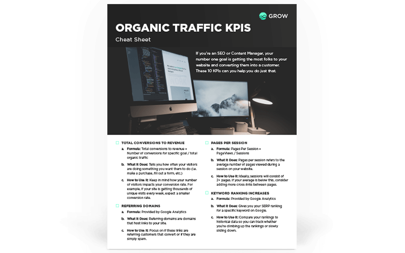 Organic Traffic KPIs Cheat Sheet
