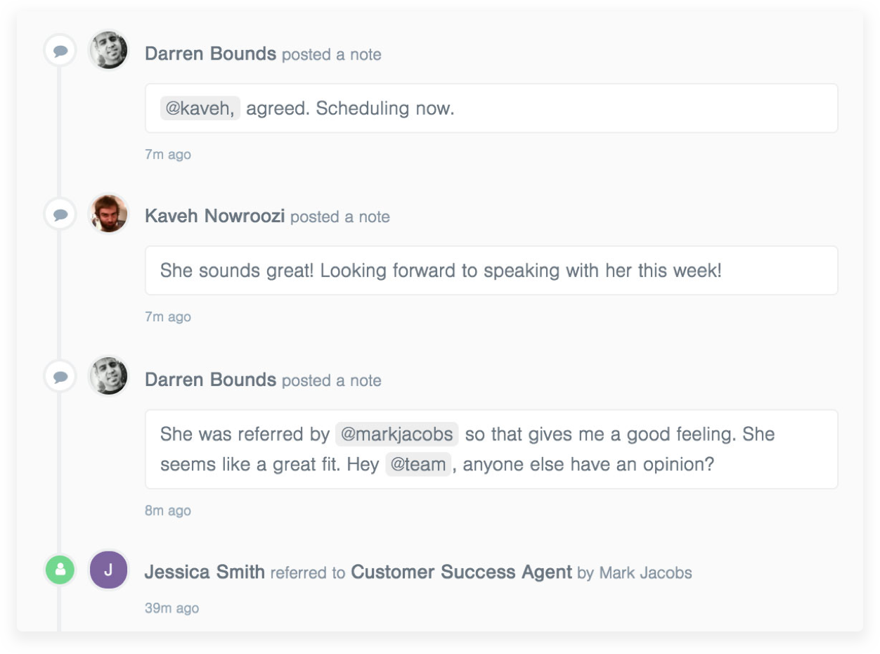 product view of breezy with team members discussing a candidate