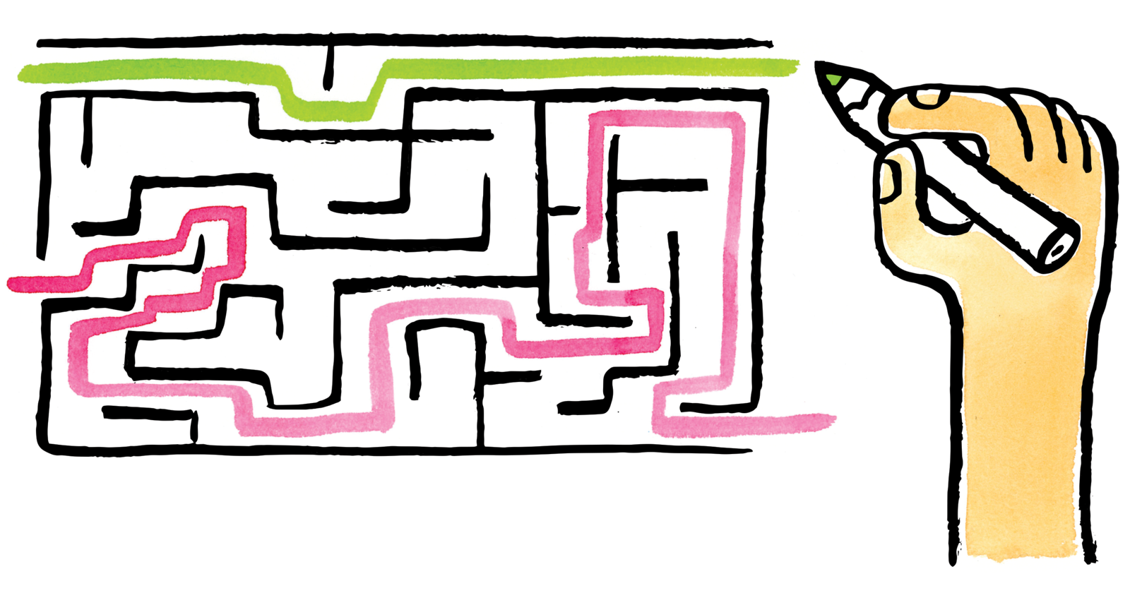 An illustration of a hand drawing a maze