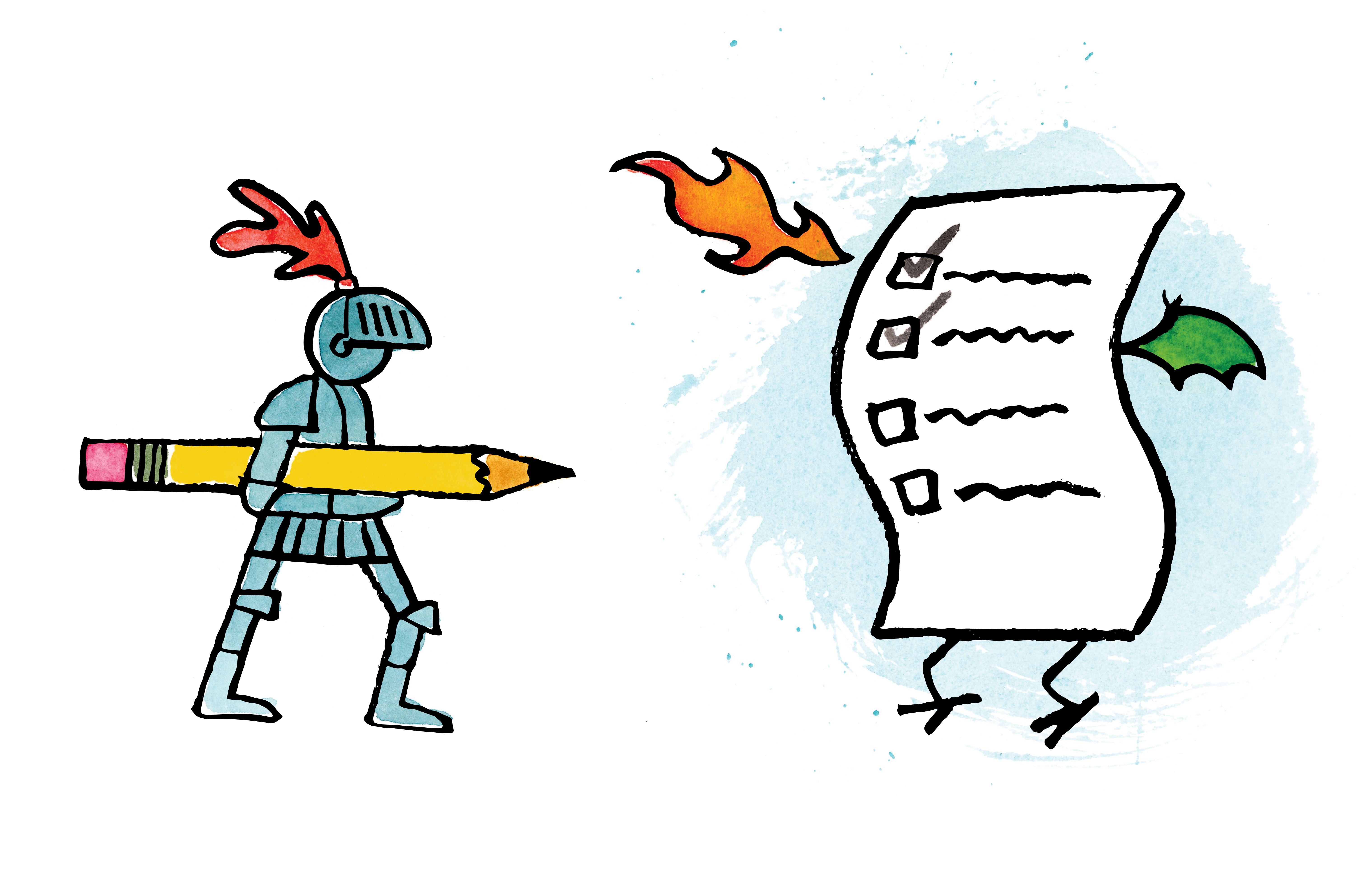 A knight in full armor holding a pencil checking off a list