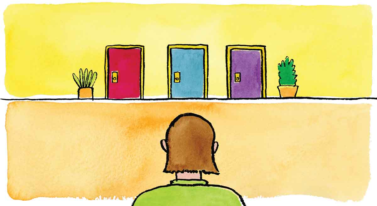 Illustration of a girl choosing which door to go through.