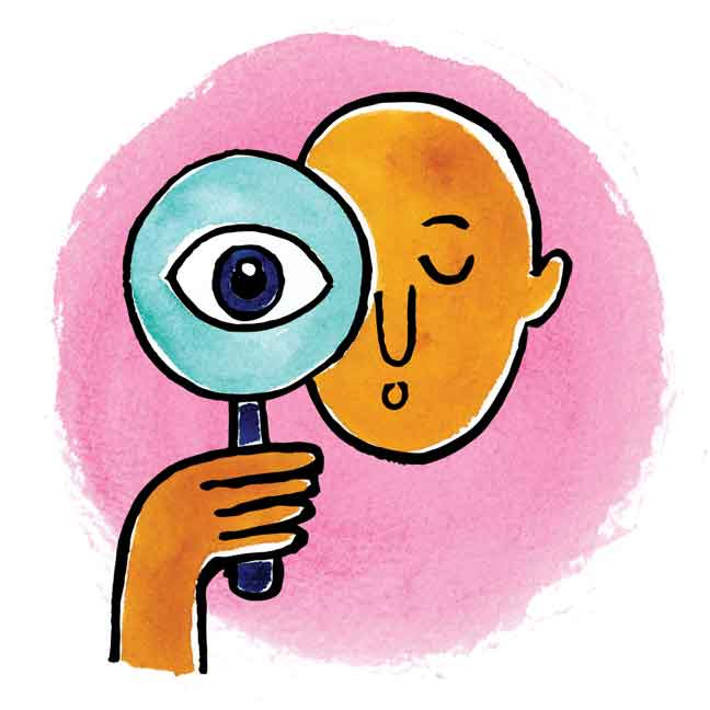 illustration of a man using a magnifying glass