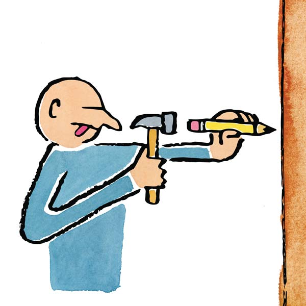 Illustration of a man hammering a pencil into a piece of wood