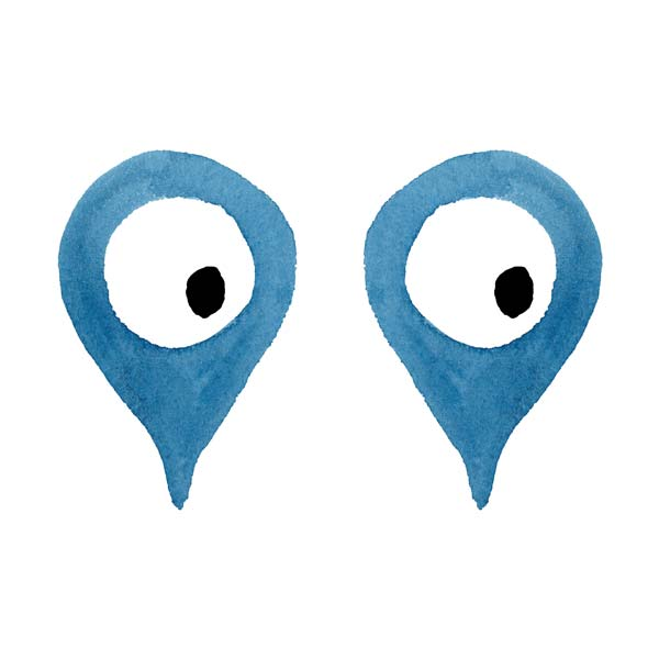 Two eyes inside of the traditional map icon