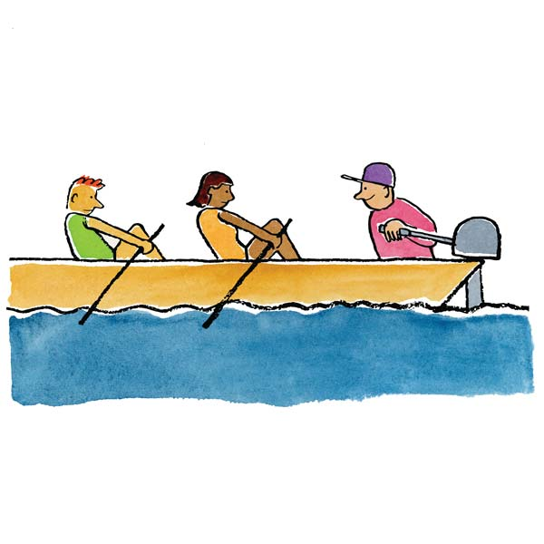 illustration of people rowing