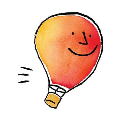 Red and orange lightbulb flying
