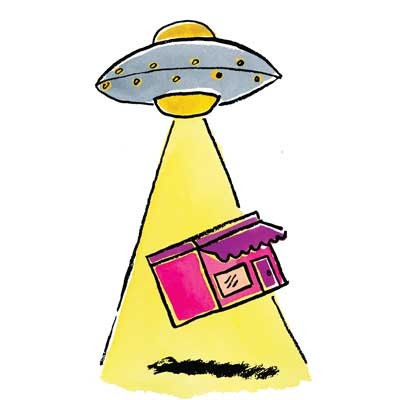 ufo picking up a small business store