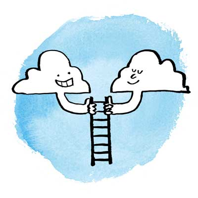 Two clouds holding a ladder