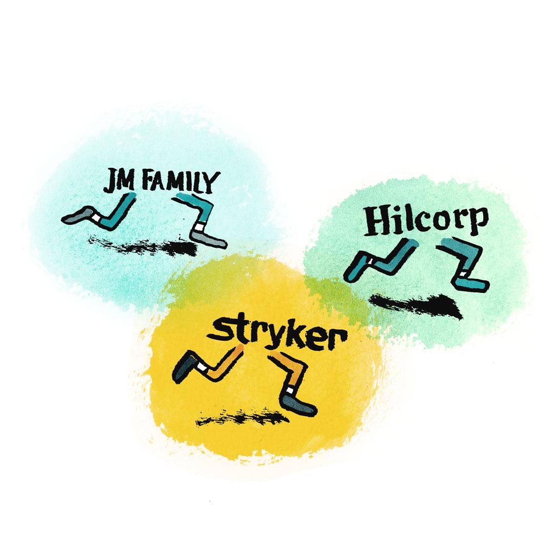 Illustration of three companies with legs running