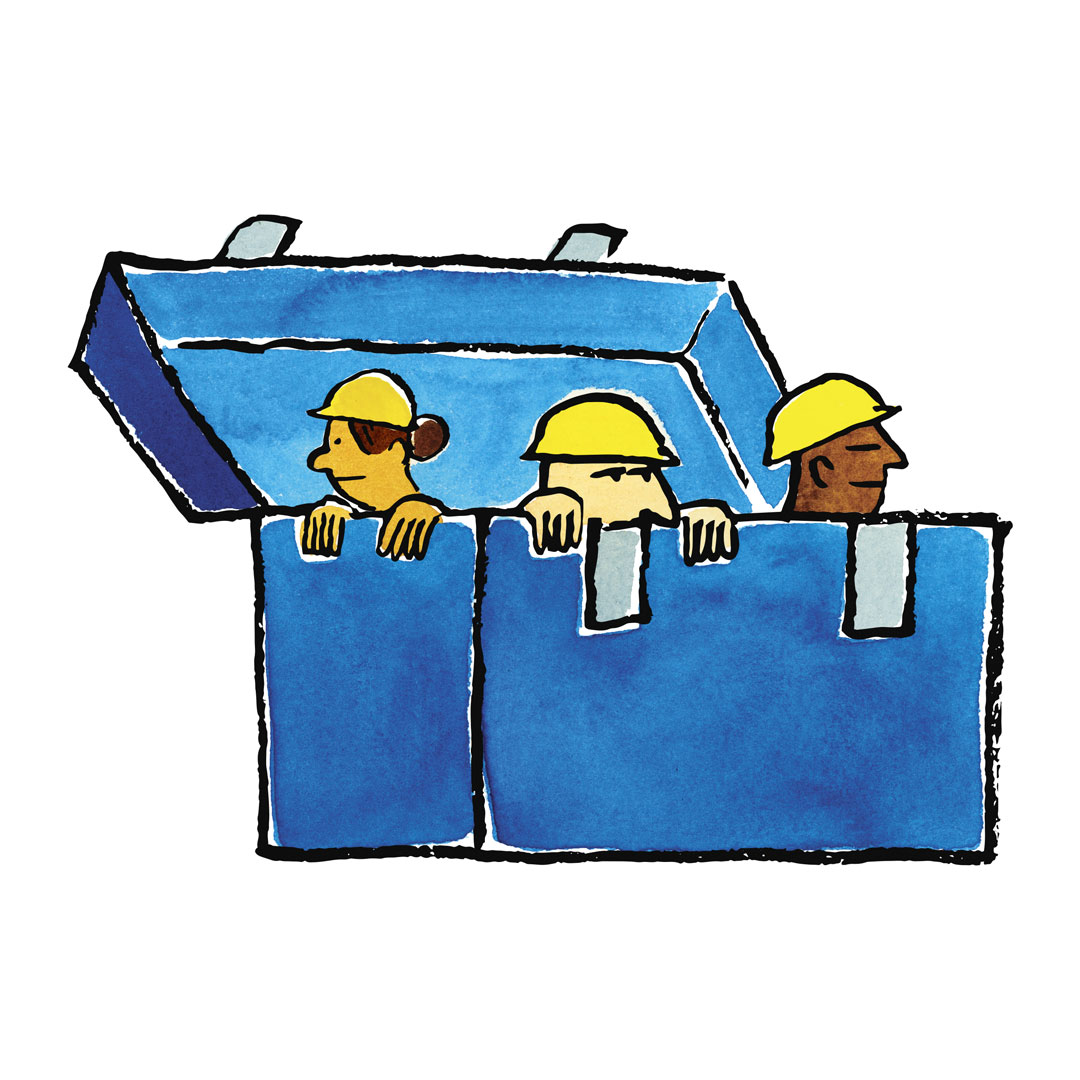 Three construction workers in a hard sided lunch box