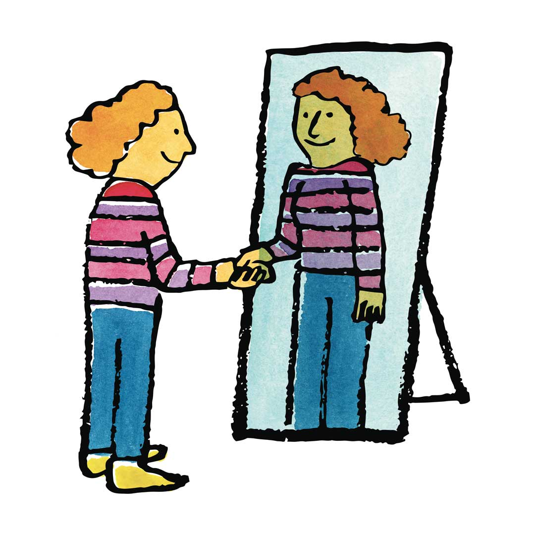 a person standing in front of a mirror shaking hands with their reflection