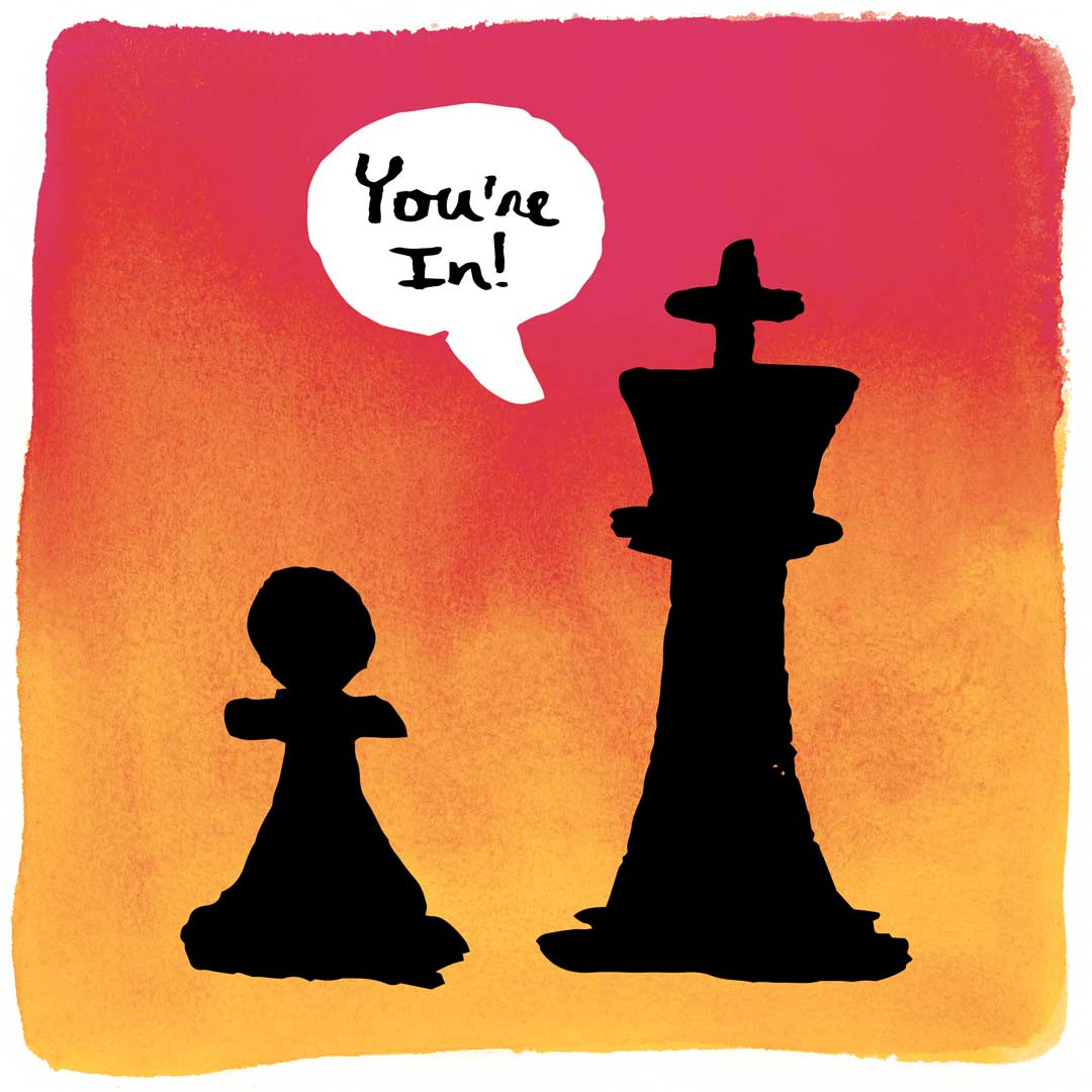 """chess piece telling another chess piece """"you rock"""""""