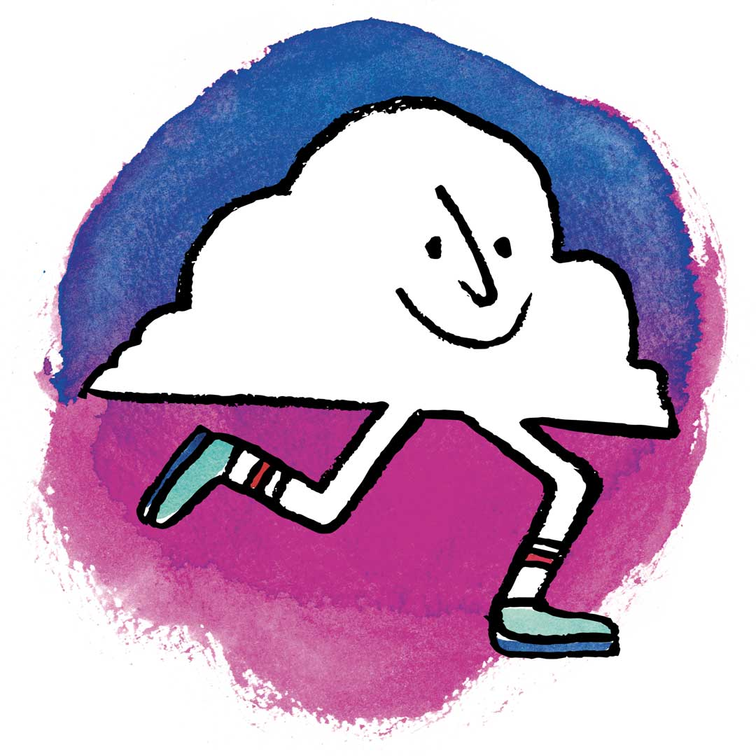 Cloud with running shoes and socks on