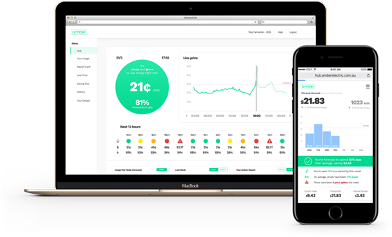 Amber Electric Dashboard and Mobile App