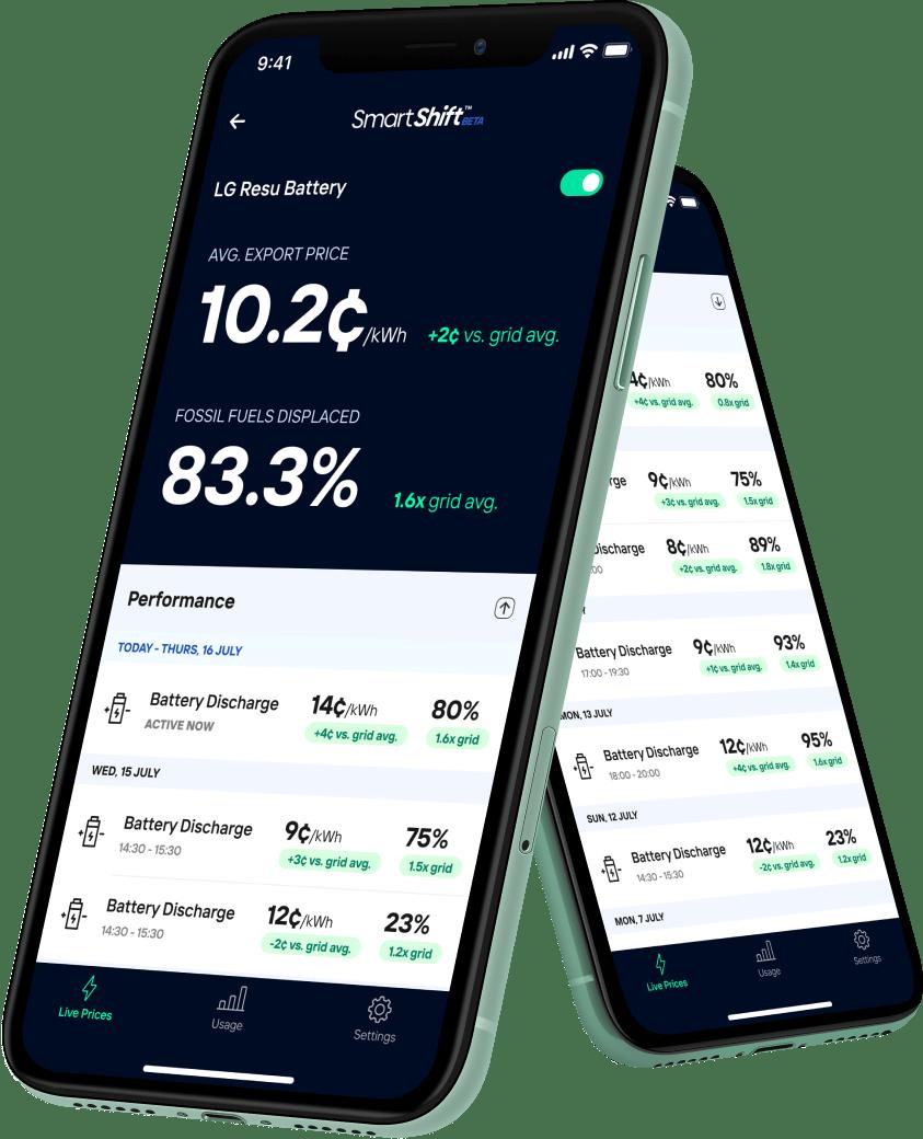 Amber's SmartShift App on a smartphone